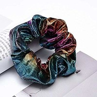 3pcs Shiny Metallic Hair Scrunchies, Women Girls Hair Scrunchie Elastics Ponytail Holder Hair Bands Hair Ties Ropes Headwear Hair Accessories for Gym Dance Party Club, Assorted Colors Scrunchies