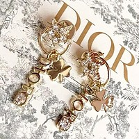 Dior Fashion new letter diamond star long earring women accessories Golden