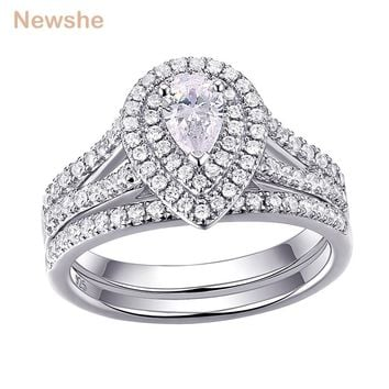 Newshe 2Pcs Wedding Ring Set Classic Jewelry Pear Shape 1.2 Carats AAA CZ  925 Sterling Silver Engagement Rings For Women 1R0004