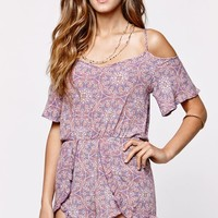 LA Hearts Tulip Cold Shoulder Ruffle Romper - Womens Dress - Multi