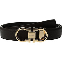 Salvatore Ferragamo Men's Double Adjustable Rose Gold-679650 Black/Hickory Belt