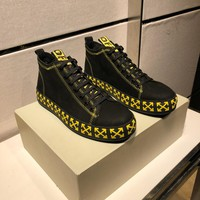 Off-white  Men Casual Shoes Boots  fashionable casual leather