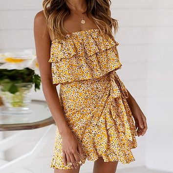 Ruffle Floral Women Dress Strapless Party Wrap Dress Sexy Short Beach Dresses