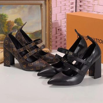 LV Louis Vuitton new ladies print letters high heel sandals