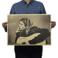 Hot Kurt Cobain Nirvana Frontman Rock Poster Kraft Paper Bar Decorative Painting 51x35.5cm Retro Paper