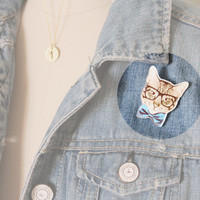 Hipster Cat Brooch : Four Eyed Tabby Cat with Oversized Glasses and Blue Bow Tie, Pin, Button, Fashion Accessory, Conversation Piece