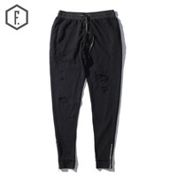 Men's Fashion Winter Zippers Hoodies Pants Couple Skinny Pants [8822210691]
