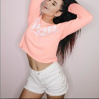 PINK Women'S Strapless Round Neck Print Long-Sleeved T-Shirt