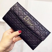 Dior New fashion leather wallet purse handbag Black
