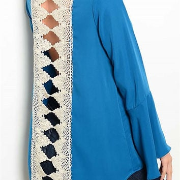 Bell Sleeve Solid Crochet Open Lace Back Top