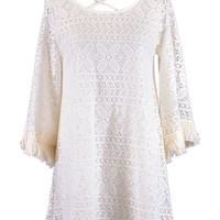 Audrey 3+1 Bohemian Lovers Floral Crochet Lace Fringed Bell Sleeves Dress
