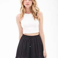 FOREVER 21 Embroidered Scallop Skirt Black