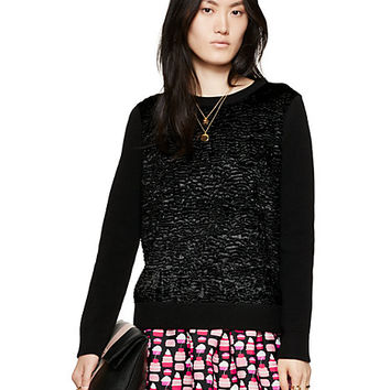Kate Spade Textured Front Sweater Black