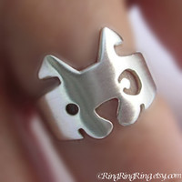 925. Dog ring -  20 gauge sterling silver ring jewelry, Cute spot dog, (Matte or Shine) 103012