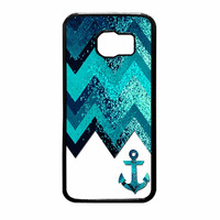 Chevron Navy Anchor Sparkly Samsung Galaxy S6 Case