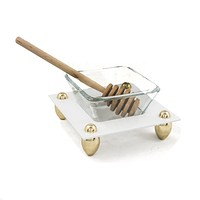 Honey Dish with Wooden Dipper
