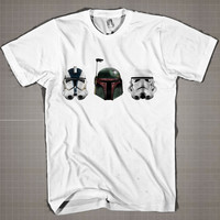 Star Wars Stormtroopers-Boba-Fett-Clone-Helmet  Mens and Women T-Shirt Available Color Black And White