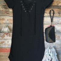 Fun in the Sun Tie Dress: Black