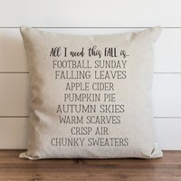 """Fall Pillow Cover // """"All I Need This Fall Is.."""""""
