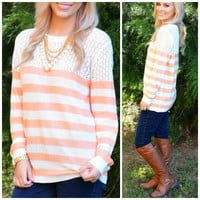 Spring Bay Coral Striped Knit Sweater