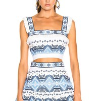 White And Blue Embroidered Crop Tank Top