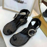 Louis Vuitton LV Fashion Flip Flop Roman Sandal Women Slipper Black