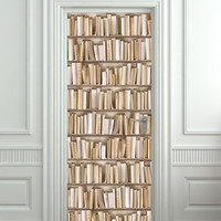 """Door STICKER books ivory library cabinet strapper box mural decole film self-adhesive poster 30""""x79""""(77x200 cm)"""
