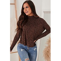 Point Of Contention Spotted Mock Neck Top (Leopard Brown)