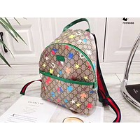 Supergirls22 GUCCI casual printed contrasting color backpacks for men and women #2
