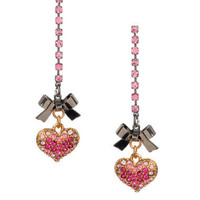 PAVE HEART RHINESTONE LINEAR EARRINGS - Betsey Johnson