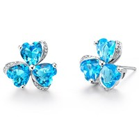 White Gold Plated Blue Heart Clover Crystal Stud Earrings