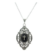 Gothic Victorian Dark Beauty Black Faceted Onyx pendant Necklace