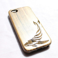 Walnut Wood iPhone 5 Case Wooden iPhone 5s Case - Whale