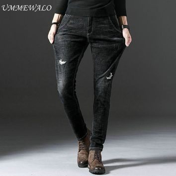 UMMEWALO Black Stretch Skinny Jeans Men Casual Ripped Denim Jeans Mens  Quality Pants Trousers Cotton Clothes Hole Jeans Homme