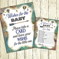 Wishes for baby printable cards Wishes for baby Sign Hot air Balloon Baby shower Game Card for boys Travel Baby Shower Navy Brown Green blue