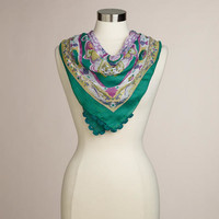 Green and Purple Square Scarf - World Market