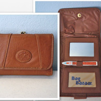 Vintage Leather Wallet / 1970s Brown Wallet Never Used