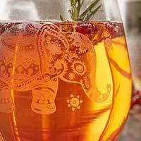 Etched Elephant Stemless Wine Glass
