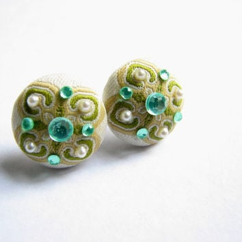Aqua and Mint Green Pearl Snowflake Button Stud Earrings - Embellished Button Post Earring