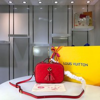 Kuyou Gb29810 Lv Louis Vuitton M43556 Monogram Handbags Red Two-tone Canvas Cross Body Bags Saintonge 21.0*8.0*15.0cm