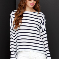 BB Dakota Hannelore Navy Blue and Ivory Striped Top