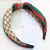 Dior GG fashion Popular more letter headband green red stripes knotted splice Khaki