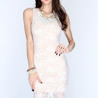 White Lace Knee Length Party Dress