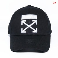 Off White New fashion embroidery cross arrow couple cap hat 1#
