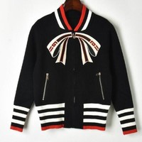 """GUCCI"" Fashion Women Casual Long Sleeve Bow Zipper Cardigan Knit Jacket Coat Black"