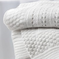 Knitted Patchwork Baby Blanket - White