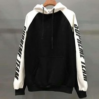 Supreme Trending Women Men Casual Stitching Color Hoodie Top Sweater Black White I-YQ-ZLHJ