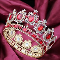 Large Queen King Pageant Crown for Wedding Tiaras and Crowns Big Crystal Rhinestone Diadem Bridal Headdress Hair Jewelry