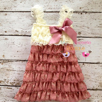 Ivory rose dress, Lace dress, baby girl outfit, infant outfit, photo prop, special occasion dress, toddler dress, girls dress,