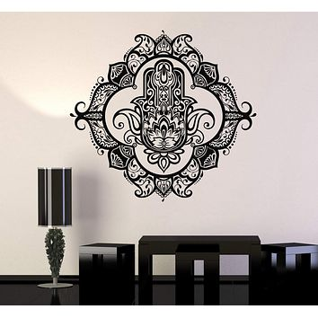 Vinyl Wall Decal Hamsa Lotus Bedroom Ornament Decor Stickers Unique Gift (ig3460)